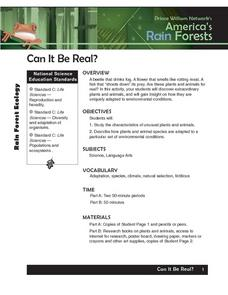 America's Rain Forests Can It Be Real? Lesson Plan
