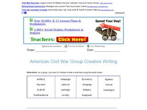 American Civil War Group Creative Writing Activity Worksheet