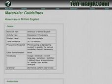 American or British English Lesson Plan