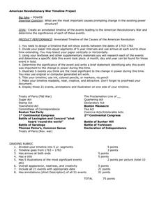 Printables American Revolution Timeline Worksheet american revolution timeline project 6th 8th grade activities project