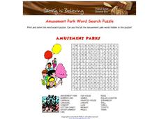 Amusement Park Word Search Worksheet