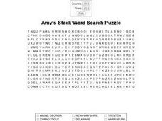 Amy's Stack Word Search Puzzle Worksheet