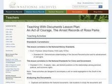 An Act of Courage, The Arrest Records of Rosa Parks Lesson Plan