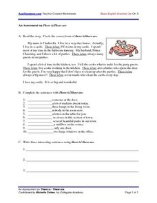An Assessment on There Is/There Are Worksheet