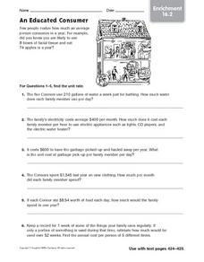 An Educated Consumer: Unit Rate Enrichment Worksheet