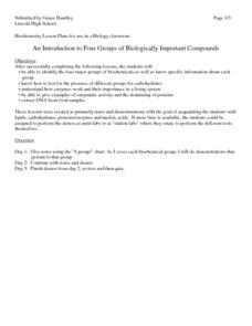An Introduction to Four Groups of Biologically Important Compounds Lesson Plan