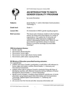 An Introduction To NGO's Gender Equality Program Lesson Plan