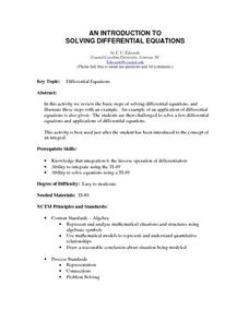 An Introduction to Solving Differential Equations Lesson Plan
