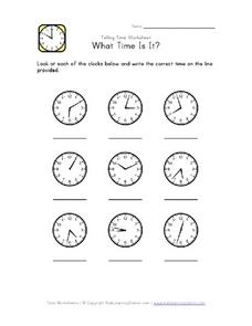 Analog Clocks- What Time Is It? Worksheet