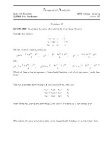 Analysis of Interactive Methods for Solving Linear Systems Worksheet