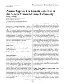 Ancient Cyprus: The Cesnola Collection at the Semitic Museum, Harvard University Lesson Plan