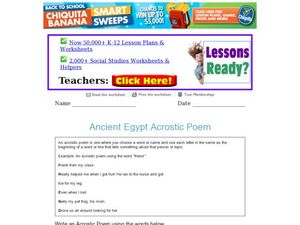 Ancient Egypt Acrostic Poem Worksheet
