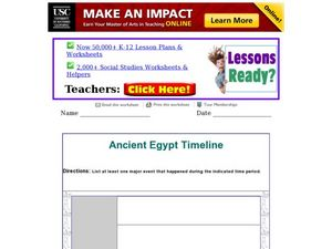Ancient Egypt Timeline Worksheet