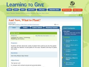 And Now, What to Plant? Lesson Plan