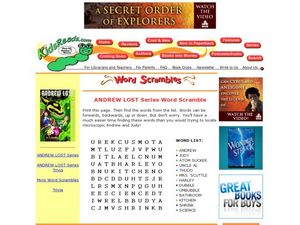 Andrew Lost Series Word Scramble Lesson Plan