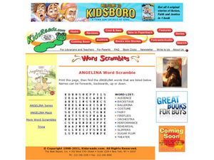 Angelina Word Scramble Lesson Plan