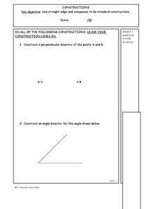 Angle Constructions Worksheet