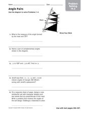 Angle Pairs: Problem Solving Worksheet