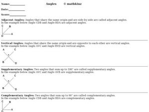 Angles: Adjacent, Vertical, Supplementary and Complementary Worksheet