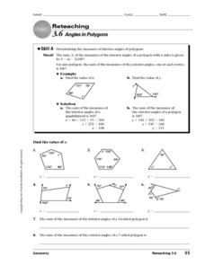 Angles in Polygons Worksheet