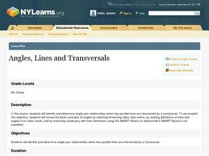 Angles, Lines, and Transversals Lesson Plan