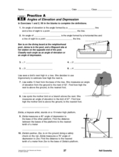 Angles of Elevation and Depression Worksheet