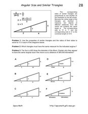 Angular Size and Similar Triangles Worksheet