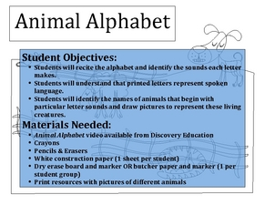 Animal Alphabet Lesson Plan