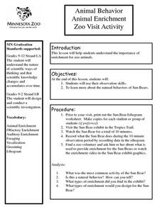 Animal Behavior Animal Enrichment Zoo Visit Activity Lesson Plan