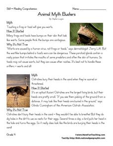Animal Myth Busters Worksheet