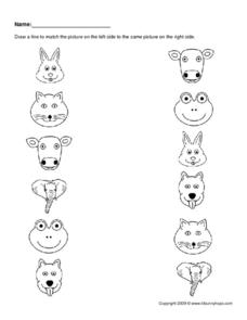 Animal Picture Matching Worksheet