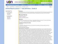 Animal Report (Lesson 1 - Task Definition - Grade 4) Lesson Plan