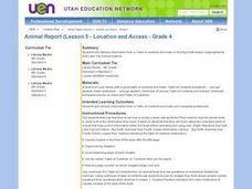 Animal Report (Lesson 5 - Location and Access - Grade 4) Lesson Plan