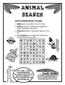 Animal Search-- Sun Safety Worksheet