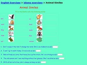 Animal Similes Worksheet