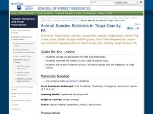 Animal Species Richness in Tioga County, PA Lesson Plan