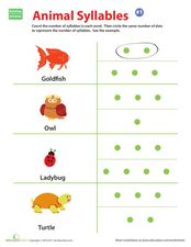 Animal Syllables Worksheet