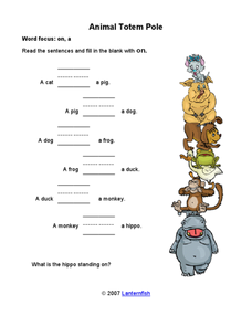 Animal Totem Pole Worksheet
