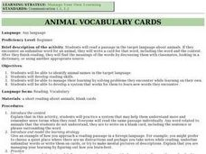 Animal Vocabulary Cards Lesson Plan
