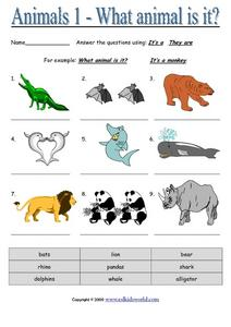 Animals 1 - What Animal is It? Worksheet