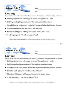 Animals A to Z: Ladybug Worksheet
