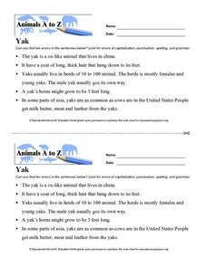 Animals A to Z: Yak Worksheet