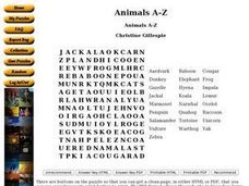 Animals A-Z Word Search Worksheet