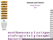 Animals and Colours Word Search Worksheet