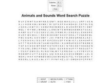 Animals and Sounds Word Search Puzzle Worksheet
