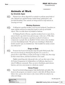 Animals at Work: Writing an Outline Worksheet