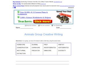 Animals Group Creative Writing Worksheet