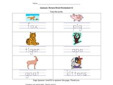 Animals: Picture/Word Worksheet #2 Worksheet