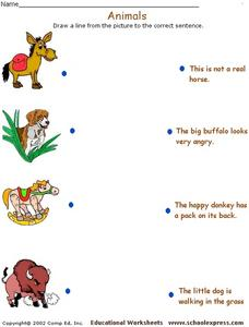 Animals - Sentence Matching Activity Worksheet