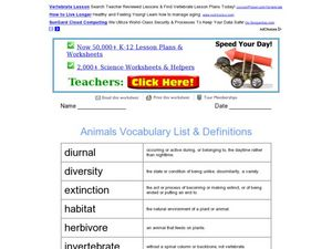 Animals Vocabulary List and Definitions Worksheet